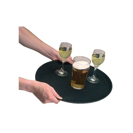 Kristallon Fibreglass Round Non Slip Tray Black 16 in