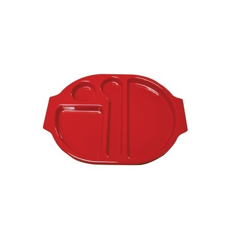 Kristallon Plastic Food Compartment Tray Large Red