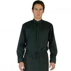 Uniform Works Mens Mandarin Shirt Black M