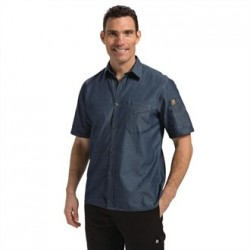 Chef Works Unisex Detroit Denim Short Sleeve Shirt Blue L