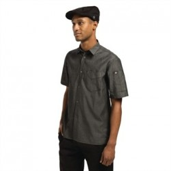 Chef Works Unisex Detroit Denim Short Sleeve Shirt Black S