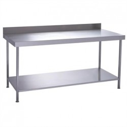 Parry Fully Welded Stainless Steel Wall Table with Undershelf 1800x600mm