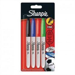 Sharpie Fine Permanent Marker Std. Assorted Blister 4 Pack