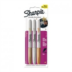 Sharpie Metallic Permanent Marker Fine Gold/Silver/Bronze Blister 3 Pack