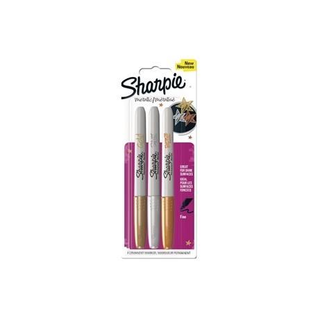 Sharpie Metallic Permanent Marker Fine Gold/Silver/Bronze Blister 3 Pack