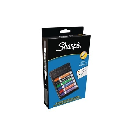 Sharpie Expo Low Odour Dry Erase Chisel Assorted 6 Pack Plus Eraser