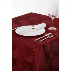 Roslin Woven Rose Tablecloth Burgundy 70 x 108in