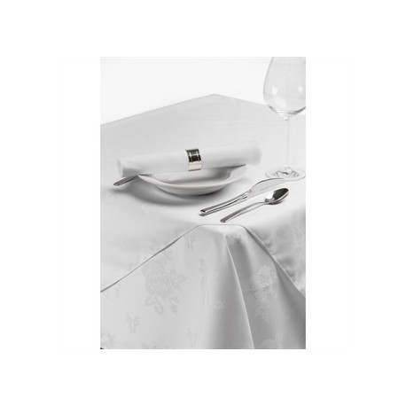 Roslin Woven Rose Tablecloth White 35in