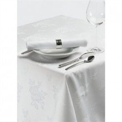 Roslin Woven Rose Tablecloth White 70 x 108in