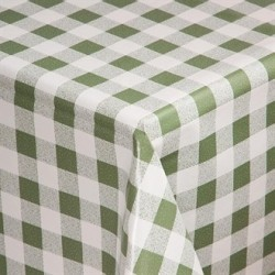 PVC Chequered Tablecloth Green 54 x 70in