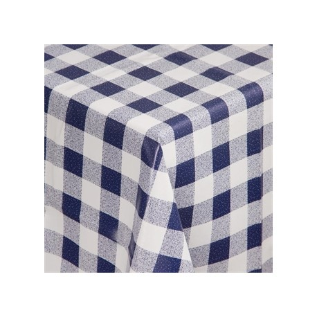 PVC Chequered Tablecloth Blue 35in