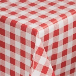 PVC Chequered Tablecloth Red 54in