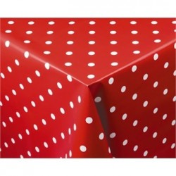 PVC Polka Dot Tablecloth Red 54 x 70in