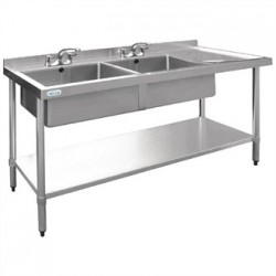 Vogue Stainless Steel Sink Double Bowl with Right Hand Drainer 1800mm
