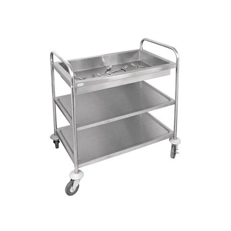 Vogue Stainless Steel 3 Tier Deep Tray Clearing Trolley