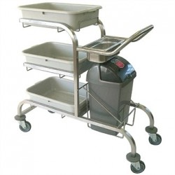 Craven 3 Tier Epoxy Coated Bussing Trolley