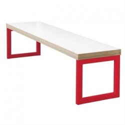 Bolero Dining Bench White with Red Frame 3ft