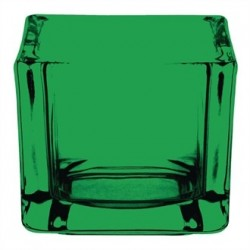 Olympia Glass Tealight Holder Square Green