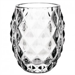Olympia Glass Diamond Tealight Holder Clear  75mm