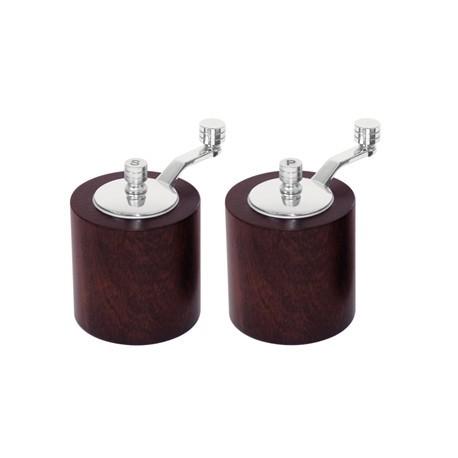 Dark Wood Salt and Pepper Mill Grinder Set