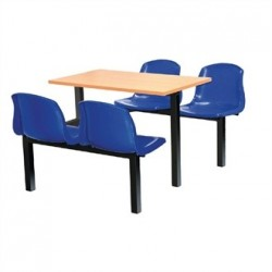 Bolero Four Seater Side Access Canteen Unit Beech and Blue