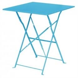 Bolero Seaside Blue Pavement Style Steel Table Square 600mm
