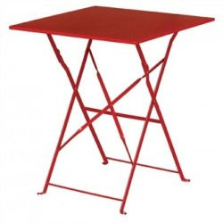 Bolero Red Pavement Style Steel Table Square 600mm