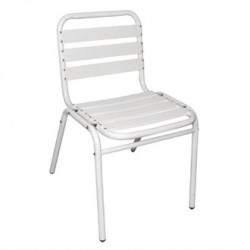 Bolero Bistro Sidechair Aluminium White (Pack of 4)