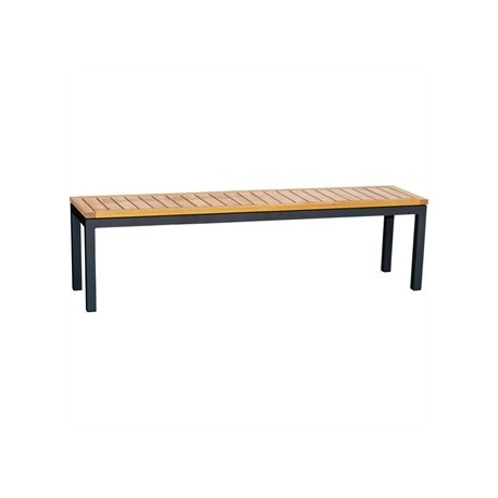 Bolero Black Low Bench with Wooden Seat Pad 1100mm