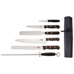 Victorinox 6 Piece Rosewood Knife Set with 20cm Chefs Knife with Wallet