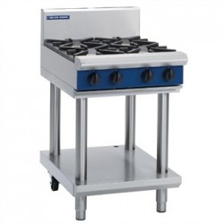 Blue Seal Evolution Cooktop 4 Open Burners Nat Gas on Stand 600mm G514D-LS/N