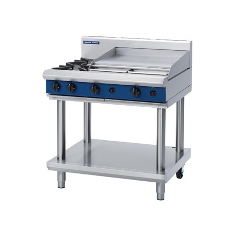 Blue Seal Evolution Cooktop 2 Open/1 Griddle Burner Nat Gas on Stand 900mm G516B-LS/N