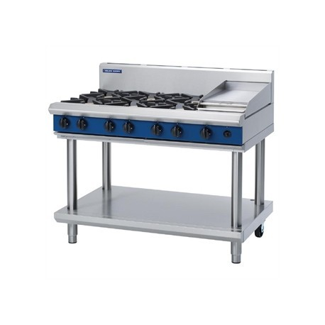 Blue Seal Evolution Cooktop 6 Open/1 Griddle Burner Natural Gas on Stand 1200mm G518C-LS/N