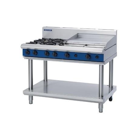 Blue Seal Evolution Cooktop 4 Open/ 1 Griddle Burner Natural Gas on Stand1200mm G518B-LS/N