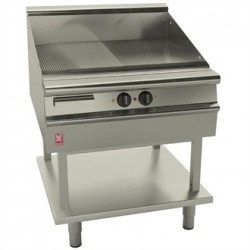 Falcon Dominator Plus 800mm Wide Half Ribbed Griddle on Fixed Stand E3481R