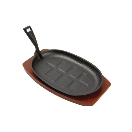 Olympia Cast Iron Oval Sizzler with Wooden Stand 280mm