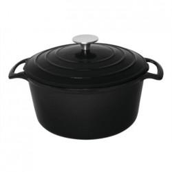 Vogue Black Round Casserole Dish 4Ltr