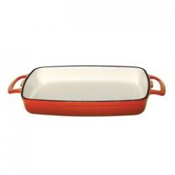 Vogue Orange Rectangular Cast Iron Dish 2.8Ltr