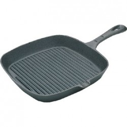 Vogue Square Cast Iron Ribbed Skillet Pan