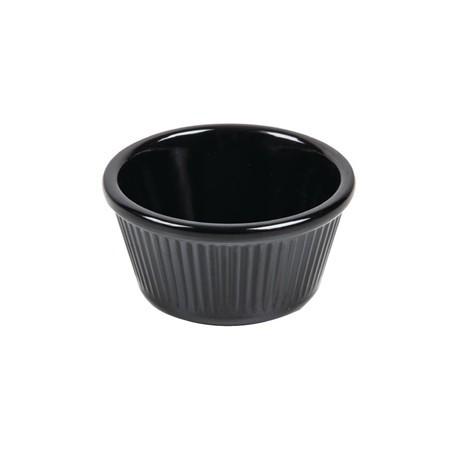 Kristallon Melamine Fluted Ramekins Black 70mm