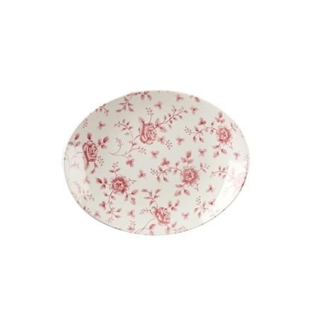 Churchill Vintage Prints Oval Plates Cranberry Rose Print 315mm