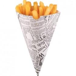 Disposable Newspaper Print Paper Chip Cones