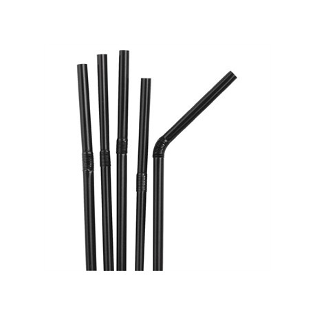 Fiesta Black Flexible Straws