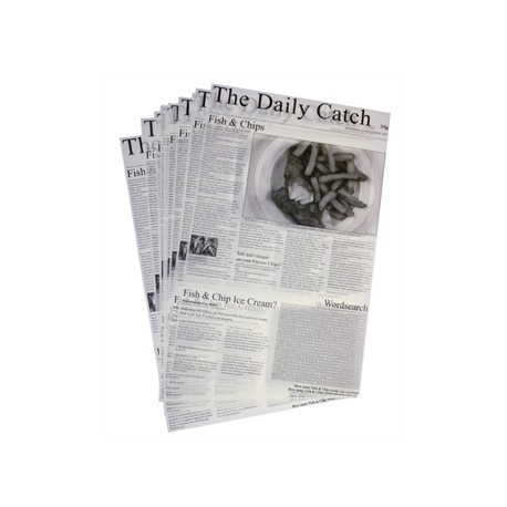 Greaseproof Paper Squares - Newspaper Print