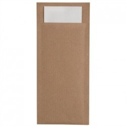 Kraft Cutlery Pouch Brown with Grey Napkin