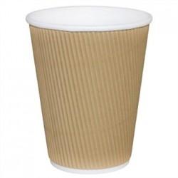 Fiesta Takeaway Coffee Cups Ripple Wall Kraft 8oz x25