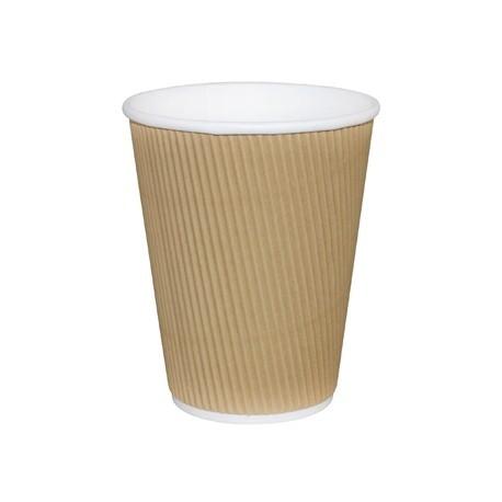 Fiesta Takeaway Coffee Cups Ripple Wall Kraft 12oz x25