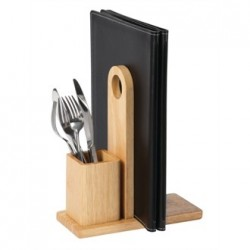 Olympia Wooden Menu Holder with Cutlery Pot