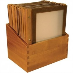 Securit Menu Holders with Wooden Box A4 Brown