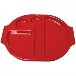 Kristallon Plastic Food Compartment Tray Small Red